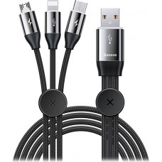 Baseus Braided USB to Lightning / Type-C / micro USB Cable Μαύρο 1m (CAMLT-FX01)